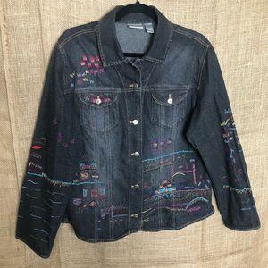Chico's Denim Jacket 2 L Embroidered Dark Wash